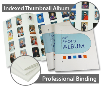 Professional bound thumbnail albums